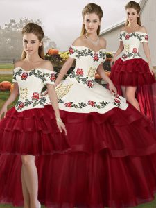 Wine Red Sleeveless Brush Train Embroidery and Ruffled Layers 15 Quinceanera Dress