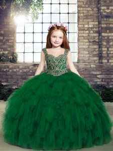 Cheap Sleeveless Floor Length Beading and Ruffles Lace Up Pageant Gowns For Girls with Dark Green