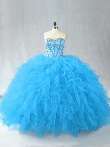 Baby Blue Sleeveless Floor Length Beading and Ruffles Lace Up Sweet 16 Quinceanera Dress
