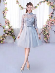 Grey Empire High-neck Half Sleeves Tulle Knee Length Lace Up Lace and Belt Quinceanera Court of Honor Dress