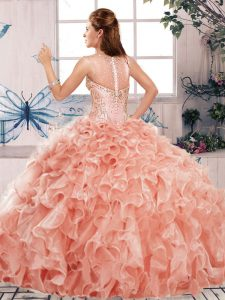 Hot Sale Beading and Ruffles Sweet 16 Dresses Watermelon Red Clasp Handle Sleeveless Floor Length
