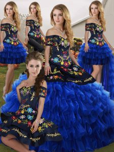Blue And Black Off The Shoulder Neckline Embroidery and Ruffled Layers Quinceanera Dresses Sleeveless Lace Up
