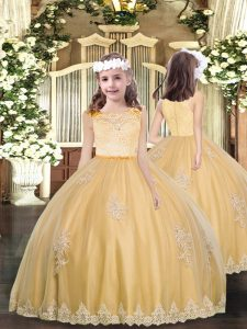Wonderful Tulle Scoop Sleeveless Clasp Handle Lace and Appliques Quinceanera Dresses in Gold