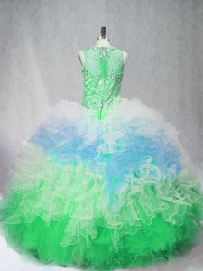Discount Multi-color Ball Gowns Beading and Ruffles 15th Birthday Dress Zipper Tulle Sleeveless Floor Length