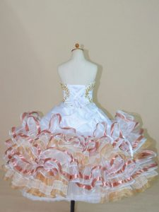 Sleeveless Organza Floor Length Lace Up Little Girls Pageant Gowns in Multi-color with Beading and Ruffled Layers