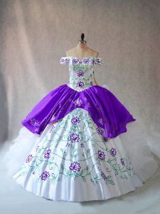 White And Purple Lace Up Off The Shoulder Embroidery and Ruffles Quince Ball Gowns Organza Sleeveless