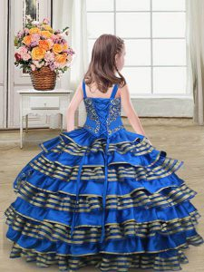 Royal Blue Straps Lace Up Embroidery and Ruffled Layers Glitz Pageant Dress Sleeveless