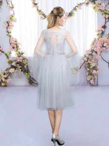 Scoop Sleeveless Tulle Dama Dress Lace and Belt Lace Up