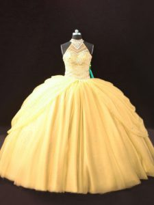 Gold Lace Up Sweet 16 Quinceanera Dress Beading and Pick Ups Sleeveless Floor Length