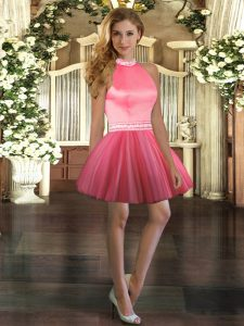 New Style Floor Length Backless Quinceanera Gowns Coral Red for Sweet 16 and Quinceanera with Beading