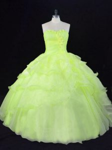 Free and Easy Yellow Green Sweetheart Lace Up Ruffles and Hand Made Flower Ball Gown Prom Dress Sleeveless