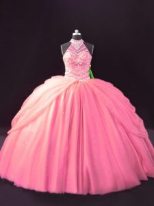 Pink Sweet 16 Quinceanera Dress Tulle Sleeveless Beading and Pick Ups