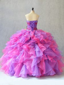 High End Sleeveless Lace Up Beading and Ruffles 15 Quinceanera Dress