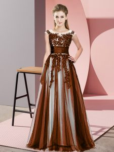 Glorious Sleeveless Floor Length Beading and Lace Zipper Quinceanera Dama Dress with Brown