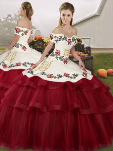 Nice Wine Red Sleeveless Embroidery and Ruffled Layers Lace Up Quinceanera Gown