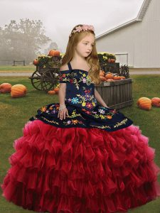 Straps Sleeveless Organza Little Girls Pageant Gowns Embroidery Lace Up