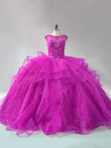 Nice Scoop Long Sleeves Brush Train Lace Up Ball Gown Prom Dress Fuchsia Organza
