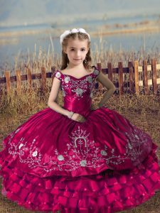Sleeveless Floor Length Embroidery and Ruffled Layers Lace Up Little Girls Pageant Dress with Fuchsia