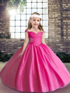 Hot Pink Sleeveless Beading Floor Length Child Pageant Dress