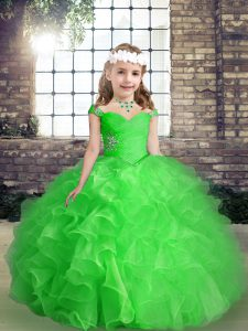 Cute Floor Length Ball Gowns Sleeveless Little Girls Pageant Dress Wholesale Lace Up