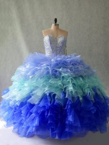Sweetheart Sleeveless Lace Up 15 Quinceanera Dress Multi-color Organza