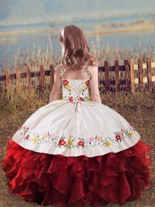Fantastic Floor Length Ball Gowns Sleeveless White And Red Kids Formal Wear Lace Up