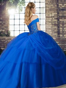 Discount Sleeveless Beading and Pick Ups Lace Up Quince Ball Gowns with Olive Green Brush Train