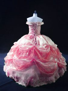 Rose Pink Ball Gowns Off The Shoulder Sleeveless Organza Floor Length Lace Up Beading and Sequins Sweet 16 Dresses