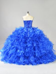 Amazing Royal Blue Ball Gowns Organza Sweetheart Sleeveless Beading and Ruffles Lace Up Quinceanera Dresses