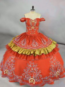 Orange Red Satin Lace Up Off The Shoulder Sleeveless Floor Length 15 Quinceanera Dress Embroidery
