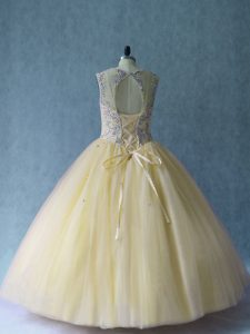 Fashion Sleeveless Lace Up Floor Length Beading Ball Gown Prom Dress