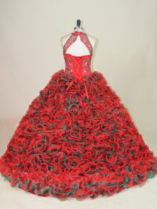 Suitable Brush Train Ball Gowns Sweet 16 Dress Multi-color Halter Top Sleeveless Lace Up
