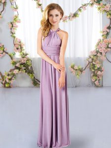 Dramatic Lavender Chiffon Criss Cross Dama Dress for Quinceanera Sleeveless Floor Length Ruching