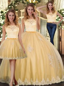 Exceptional Gold Clasp Handle Scoop Lace and Appliques Quinceanera Dresses Tulle Sleeveless