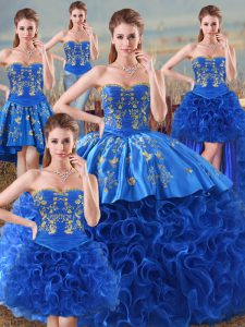 Decent Royal Blue Sweetheart Neckline Embroidery Vestidos de Quinceanera Sleeveless Lace Up