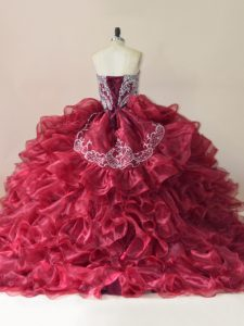 Wine Red Quinceanera Dresses Organza Brush Train Sleeveless Beading and Appliques and Ruffles