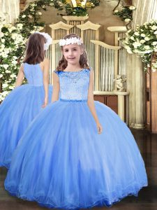 High Quality Sleeveless Floor Length Lace Clasp Handle Vestidos de Quinceanera with Blue