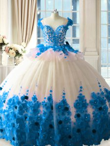 Eye-catching Tulle Sleeveless Sweet 16 Dresses Brush Train and Hand Made Flower