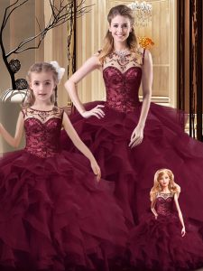 Delicate Sleeveless Beading and Ruffles Lace Up Quinceanera Dress with Burgundy Brush Train