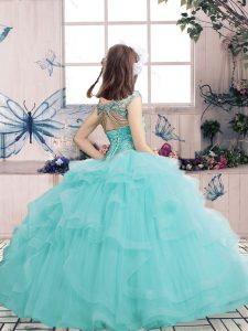 Custom Designed Ball Gowns Little Girls Pageant Gowns Yellow Scoop Tulle Sleeveless Floor Length Lace Up