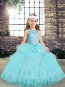 Floor Length Lace Up Little Girls Pageant Dress Aqua Blue and In with Beading and Lace and Appliques