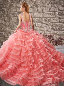 Shining Ball Gowns Organza Straps Sleeveless Beading and Ruffled Layers Lace Up Quinceanera Dresses Court Train