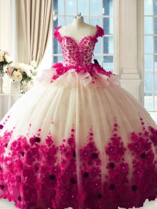 Delicate Scoop Sleeveless Vestidos de Quinceanera Brush Train Hand Made Flower Fuchsia Tulle