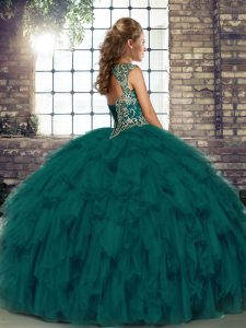 Peacock Green Lace Up Straps Beading and Ruffles Quinceanera Dress Organza Sleeveless