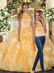 Pretty Gold Backless Halter Top Beading and Ruffles Quinceanera Gowns Organza Sleeveless