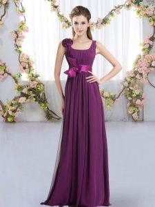 Sleeveless Zipper Floor Length Belt and Hand Made Flower Vestidos de Damas