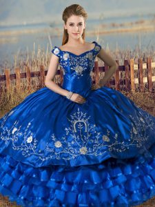 Royal Blue Ball Gowns Satin and Organza Off The Shoulder Sleeveless Embroidery and Ruffled Layers Floor Length Lace Up 15 Quinceanera Dress
