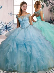 Light Blue Organza Lace Up Quinceanera Dresses Sleeveless Floor Length Beading and Ruffles
