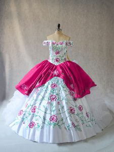 Glittering Floor Length Pink And White 15 Quinceanera Dress Organza Sleeveless Embroidery and Ruffles
