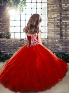 Off The Shoulder Sleeveless Little Girls Pageant Dress Wholesale Floor Length Beading Red Tulle